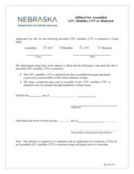 """""""Affidavit for Assembled Atv, Minibike, Utv or Minitruck"""" - Nebraska"""