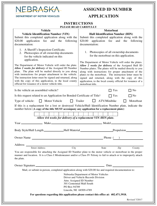"""Assigned Id Number Application Form"" - Nebraska Download Pdf"