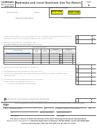 "Form 2 ""Nebraska and Local Business Use Tax Return"" - Nebraska"