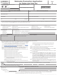 "Form 4 ""Nebraska Exemption Application for Sales and Use Tax"" - Nebraska"