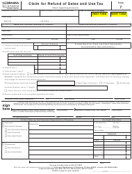 "Form 7 ""Claim for Refund of Sales and Use Tax"" - Nebraska"