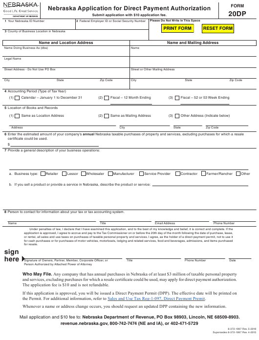 Form 20DP Printable Pdf
