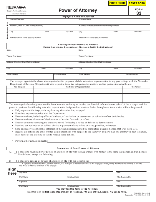 power of attorney form 33  Form 7 Download Fillable PDF, Power of Attorney Nebraska ...