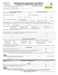 "Form 54 ""Nebraska Tax Application and Return for Mechanical Amusement Device (Mad) Decals"" - Nebraska"