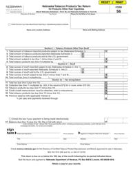 Form 56 Nebraska Tobacco Products Tax Return for Products Other Than Cigarettes - Nebraska