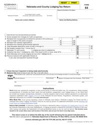 Form 64 Nebraska and County Lodging Tax Return - Nebraska