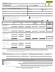 Form 84 Nebraska Non-ag Use Motor Fuels Tax Refund Claim - Nebraska