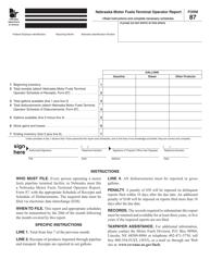 Form 87 Nebraska Motor Fuels Terminal Operator Report - Nebraska