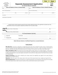 Form 401 Separate Assessment Application for Severed Mineral Interests - Nebraska