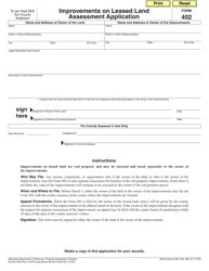 Form 402 Improvements on Leased Land Assessment Application - Nebraska
