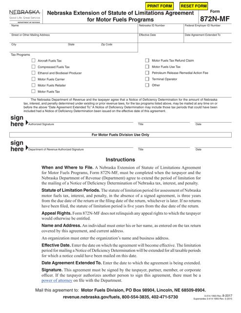 Form 872N-MF Printable Pdf