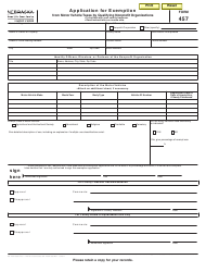 Form 457 Application for Exemption From Motor Vehicle Taxes by Qualifying Nonprofit Organizations - Nebraska