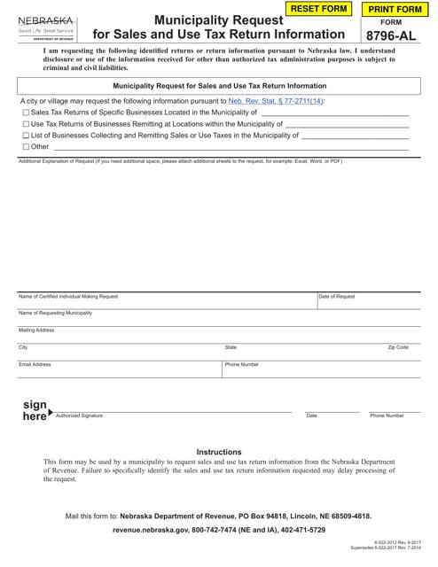 Form 8796-AL  Printable Pdf
