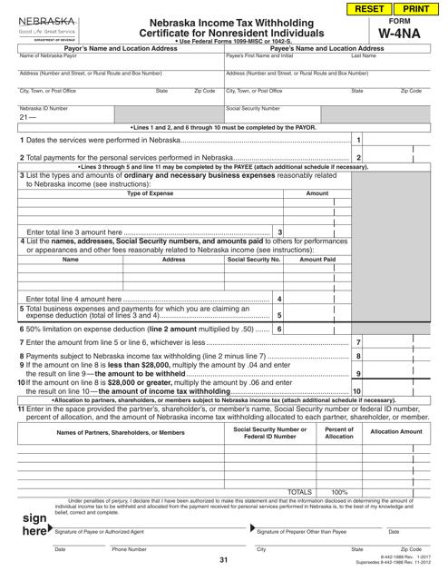 Form W-4NA  Printable Pdf