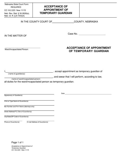 Form CC16:2.223  Printable Pdf