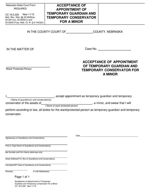 Form CC16:2.226  Printable Pdf