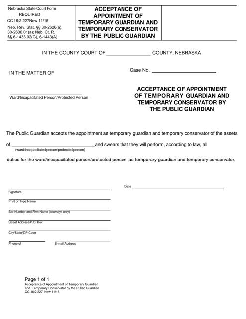 Form CC 16:2.227 Fillable Pdf