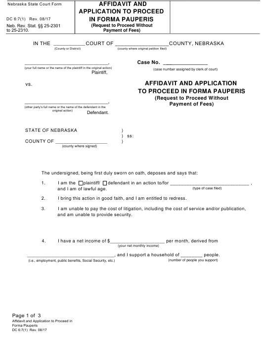 Form DC6:7(1)  Printable Pdf