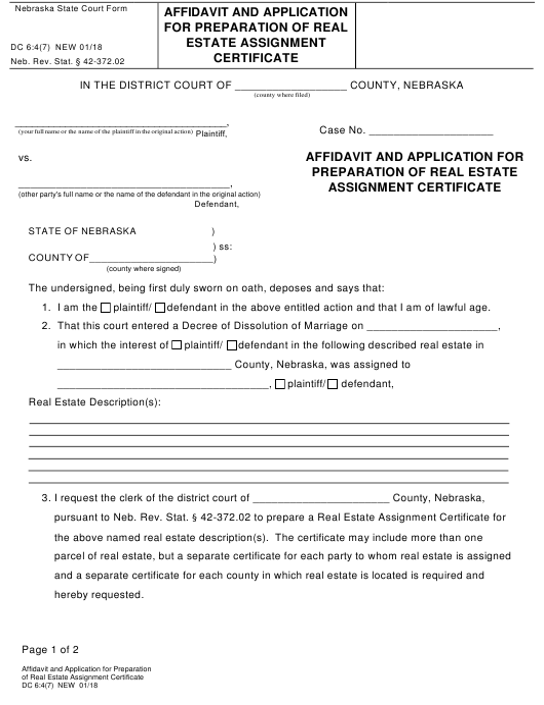 Form DC6:4(7)  Printable Pdf