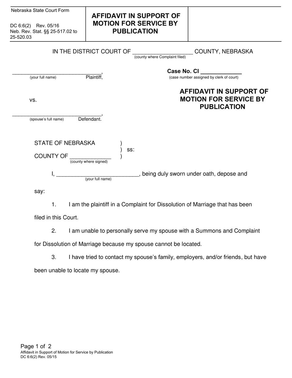 Form DC6:6(2) Download Fillable PDF or Fill Online ...