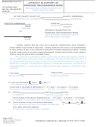"Form CC13:23 ""Affidavit in Support of Personal Recognizance Bond"" - Nebraska (English/Spanish)"