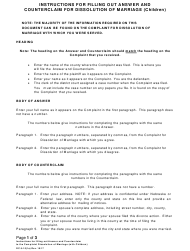 """Instructions for Form DC10:1 """"Answer and Counterclaim for Dissolution of Marriage (Children)"""" - Nebraska"""