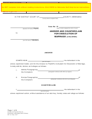"""Form DC10:1 """"Answer and Counterclaim for Dissolution of Marriage (Children)"""" - Nebraska"""