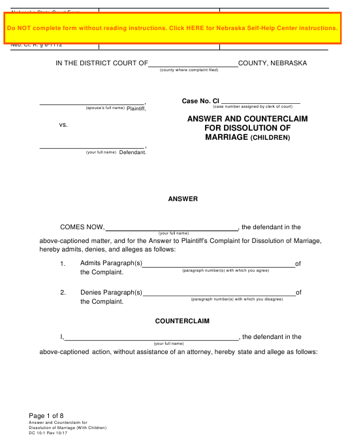 Form DC10:1  Printable Pdf