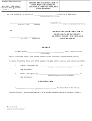 """Form DC6:8(8) """"Answer and Counterclaim to Complaint for Paternity, Custody, Parenting Time, and Child Support"""" - Nebraska"""