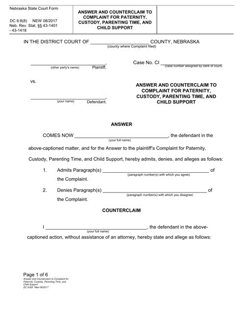 Form DC6:8(8)  Printable Pdf