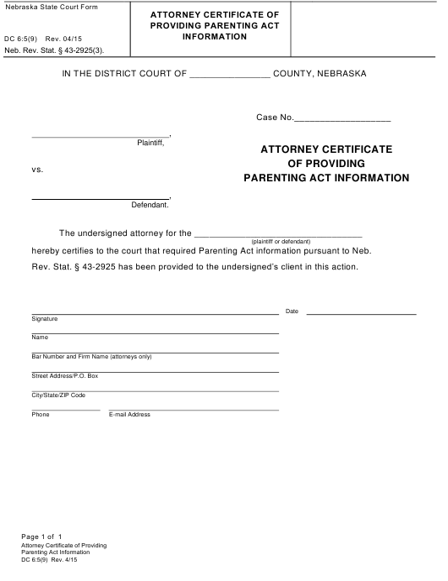 Form DC6:5(9)  Printable Pdf