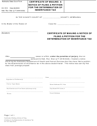 "Form CC15:5 ""Certificate of Mailing a Notice of Filing a Petition for the Determination of Inheritance Tax"" - Nebraska"