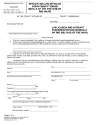 "Form CC16:2.21 ""Application and Affidavit for Intervention on Behalf of the Welfare of the Ward"" - Nebraska"