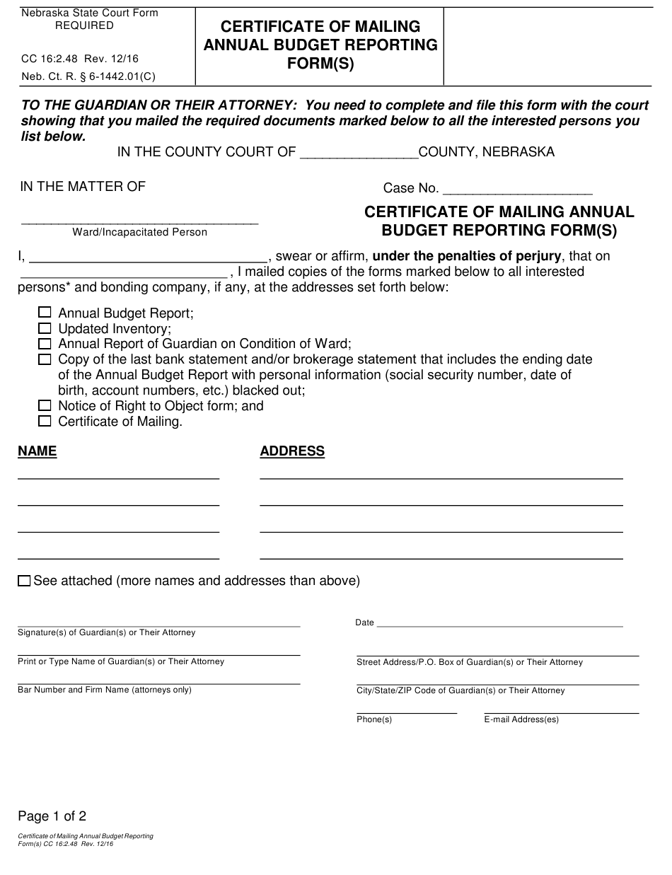 mailing certificate form annual budget pdf templateroller nebraska reporting template fillable