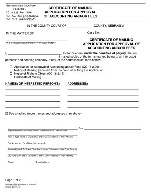 Form CC 16:2.28 Fillable Pdf