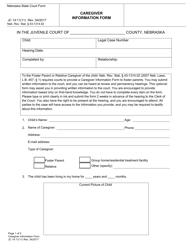 """Form JC14:11(11) """"Caregiver Information Form"""" - Nebraska"""