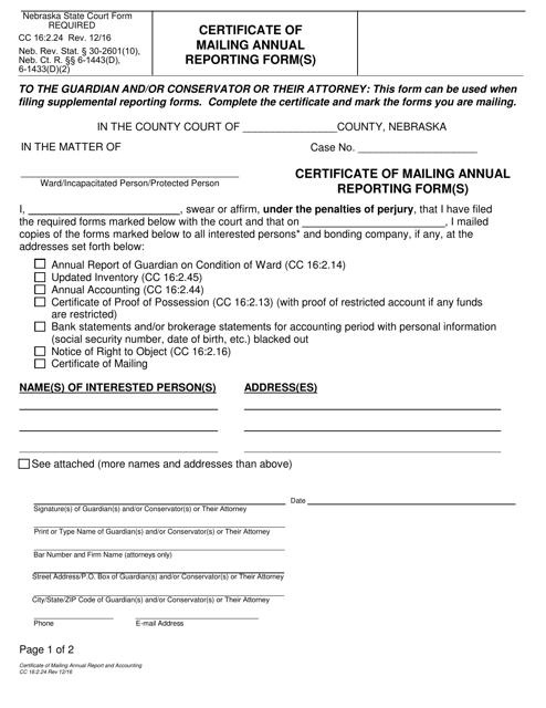 Form CC16:2.24  Printable Pdf