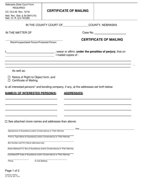 Form CC 16:2.49 Fillable Pdf