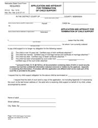 "Form DC6:2 ""Application and Affidavit for Termination of Child Support"" - Nebraska"