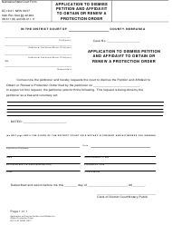 """Form DC19:41 """"Application to Dismiss Petition and Affidavit to Obtain or Renew a Protection Order"""" - Nebraska"""