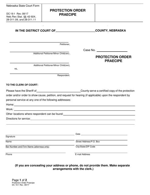 Form DC19:1  Printable Pdf