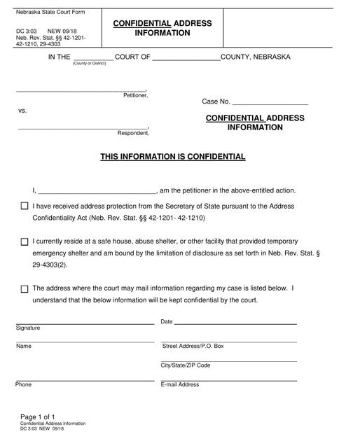 Form DC3:03  Printable Pdf