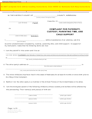 """Form DC6:8(3) """"Complaint for Paternity, Custody, Parenting Time, and Child Support"""" - Nebraska"""