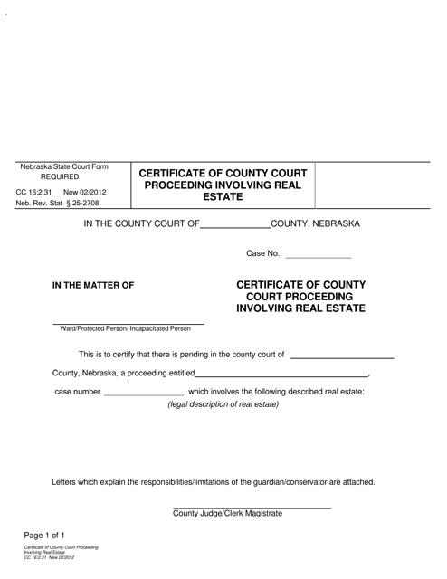 Form CC 16:2.31 Fillable Pdf