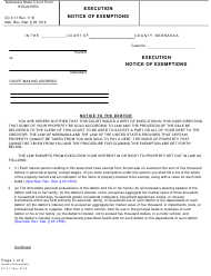 "Form CC3:11 ""Execution - Notice of Exemptions"" - Nebraska"