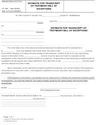 "Form CC9:90 ""Estimate for Transcript of Testimony/Bill of Exceptions"" - Nebraska"