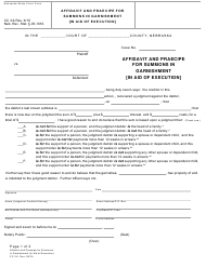 "Form CC3:6 ""Affidavit and Praecipe for Summons in Garnishment [in Aid of Execution]"" - Nebraska"