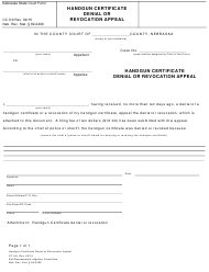"Form CC9:9 ""Handgun Certificate Denial or Revocation Appeal"" - Nebraska"