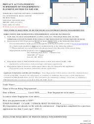 Form 147 Privacy Act Statement/ Submission of Fingerprints / Payment of Fees to Nsp-Cid - Nebraska