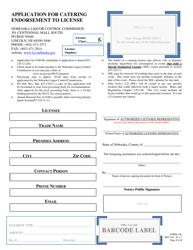 Form 106 Application for Catering Endorsement to License - Nebraska